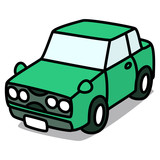 Cartoon Car 72 : Green Sedan