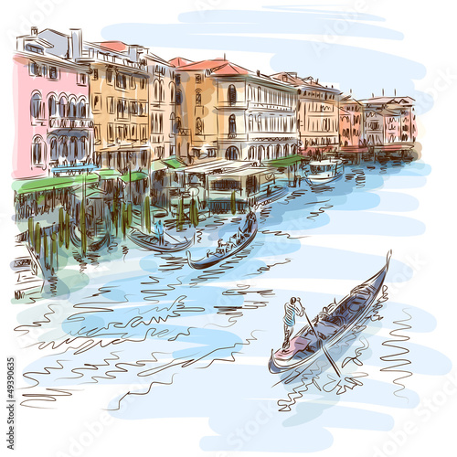 Venice - Grand Canal. The view from the Rialto Bridge - 49390635