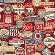 Advertising and road signs - vector seamless pattern
