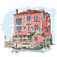 Venice - Grand Canal. Ancient building & gondola
