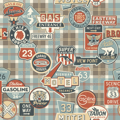 Road signs with tartan background - seamless pattern