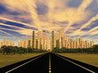 Road to city under alien sky