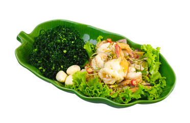 Salad Yam fresh shrimp one of Thai favorite menu isolated