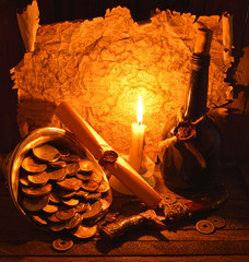 Pirate treasures with candle