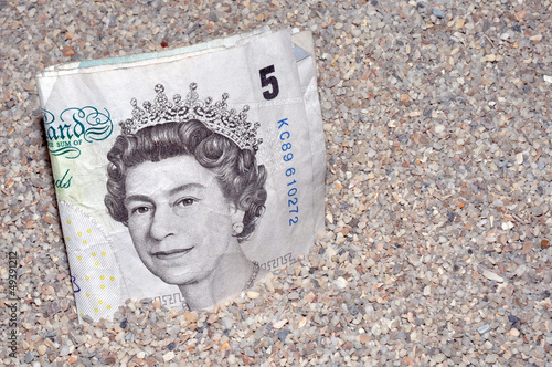English Bank Note In Gravel
