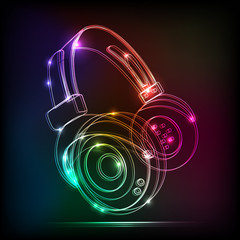 Vector neon Headphones, grunge music
