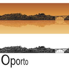 Oporto skyline in orange background