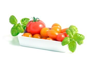 Basilikum mit Tomaten