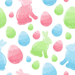 Easter scribble eggs and bunnies seamless pattern