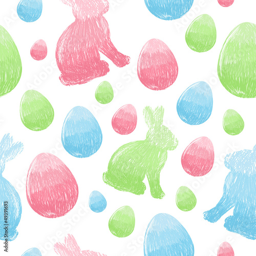 Cotton fabric Easter scribble eggs and bunnies seamless pattern