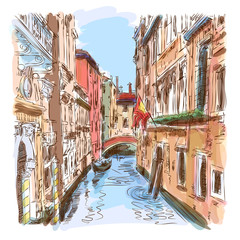 Venice - water canal & gondola away