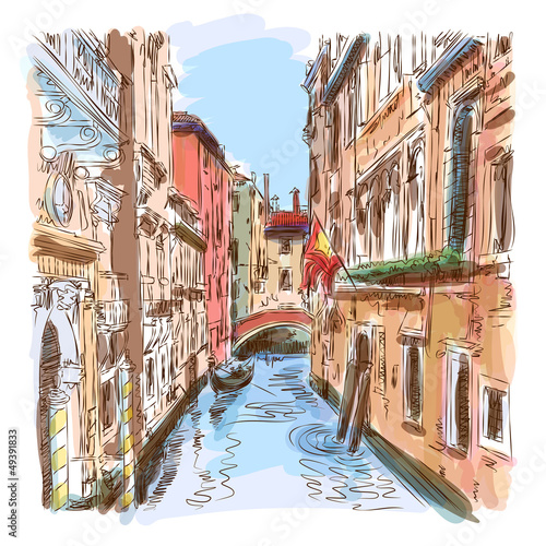 Venice - water canal & gondola away - 49391833
