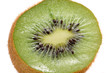 Cross Section of Kiwi Fruit Close-Up on White Background