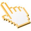 3D Pixelgrafik Hand - Zeigefinger gelb