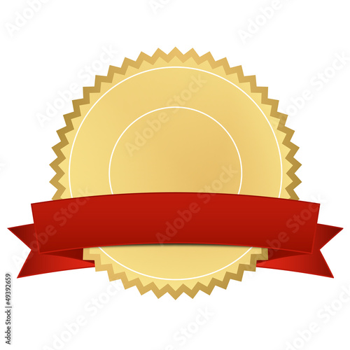 Zertifikat gold mit rotem Banner