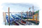 Venice. Gondolas on the water.