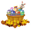 A basket full of Easter eggs and a bunny