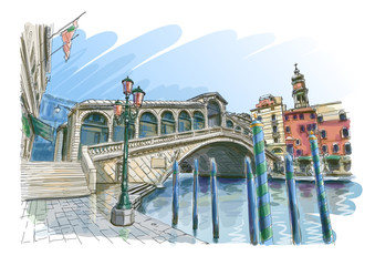 Venice - Grand Canal. Rialto Bridge.