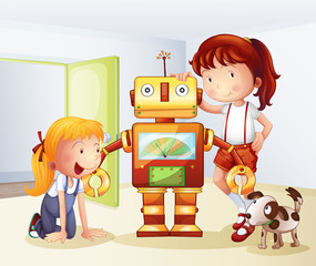 Two girls, a dog and a robot