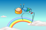 A boy jumping in the sky and a rainbow
