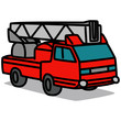 Cartoon Car 87 : Large Ladder Truck