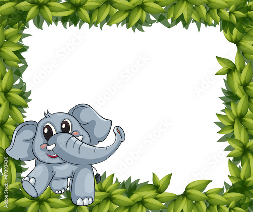 A smiling elephant and plant frame