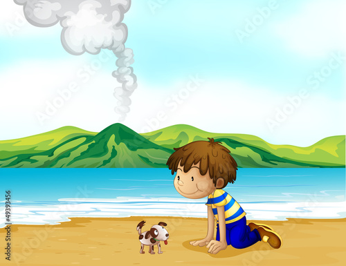 Aluminium Honden A little boy and his pet at the beach