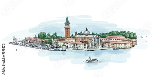 Venice - Island of San Giorgio Maggiore. Vector drawing