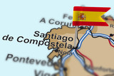 pin with flag of Spain in Santiago de Compostela