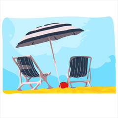 Deck chair with umbrella. Vector illustration.