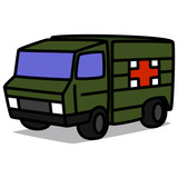 Cartoon Car 88 : Military Ambulance