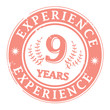 Stamp with the text 9 Years Experience written inside, vector