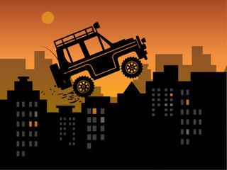 Off-road in urban jungle, vector illustration
