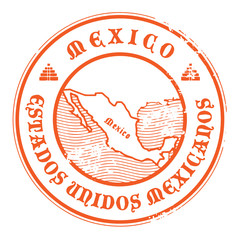 Grunge rubber stamp with the name and map of Mexico, vector