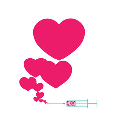 Syringe with heart.