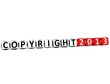 3D Copyright Right Crossword on white background