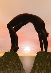 Yoga between two rocks - 3D render