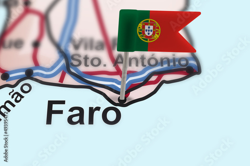 pin with flag of Portugal in Faro