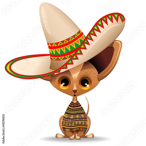Mexico Chihuahua Puppy Cartoon Sombrero-Cane di Razza Messico