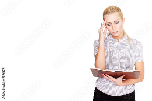 Attractive businesswoman headache, isolated white, empty space