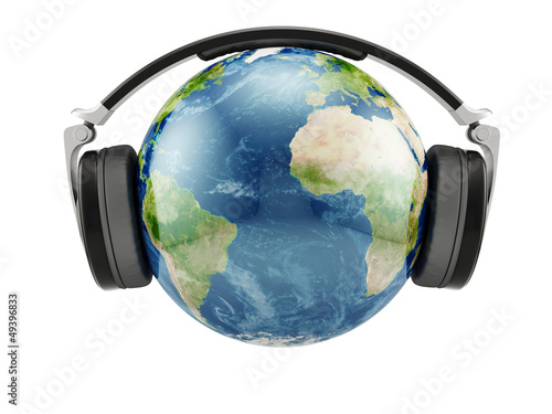 Earth planet with earphones