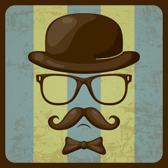 Physiognomy with moustaches in style of a retro
