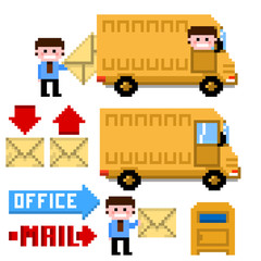 Set of pixel icon. Theme office and mail