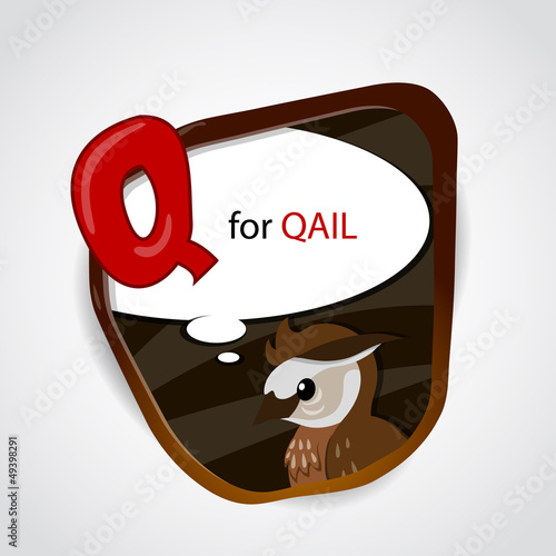 Q for Quail. Vector illustration