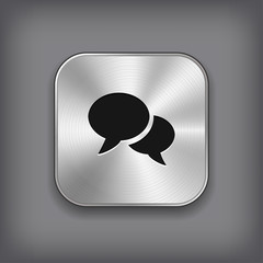 Speech icon - vector metal app button