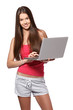 brunette teenager with laptop on white background