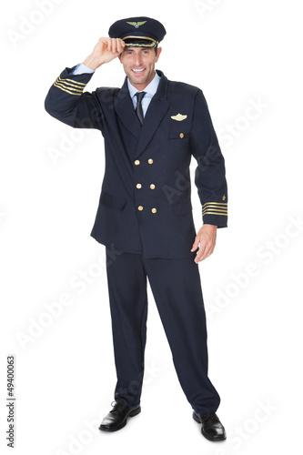 Leinwanddruck Bild Portrait of confident pilot