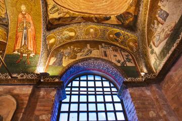Mosaic interior in Chora church at Istanbul Turkey