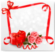 Holiday background with red heart-shaped gift box and flowers. V
