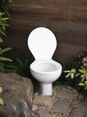The toilet in the garden
